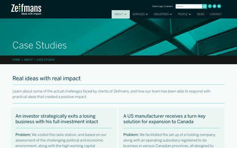 Screenshot of Case Studies Page zeifmans.ca - Case Studies - Zeifmans - captured Nov. 12, 2017