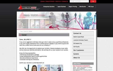 Screenshot of Jobs Page protech-me.com - PRO TECHnology - Contact Us | Careers - All IT Delivered - captured Oct. 8, 2014
