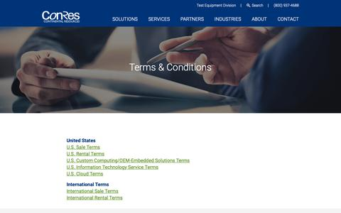 Screenshot of Terms Page conres.com - Terms & Conditions - Continental Resources - captured Sept. 29, 2018