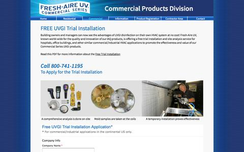 Screenshot of Trial Page freshaireuv.com - Fresh-Aire UV   Commercial Free Trial - captured Sept. 30, 2014