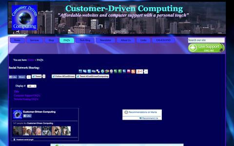 Screenshot of FAQ Page customerdrivencomputing.net - Customer-Driven Computing - FAQ\'s - captured Sept. 30, 2014