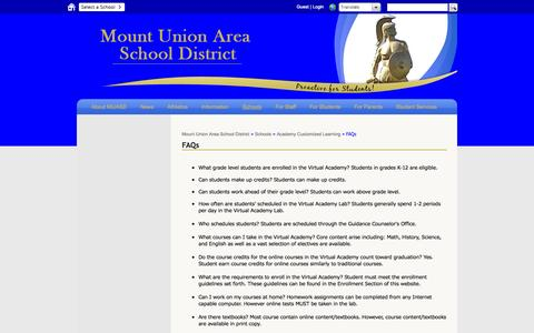 Screenshot of FAQ Page muasd.org - FAQs - Mount Union Area School District - captured Nov. 5, 2014