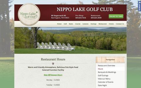 Screenshot of Hours Page nippolake.com - Hours - captured Feb. 15, 2016