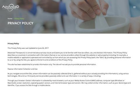 Screenshot of Privacy Page advancedtherapeutics.com - Advanced therapeutics - captured July 29, 2018