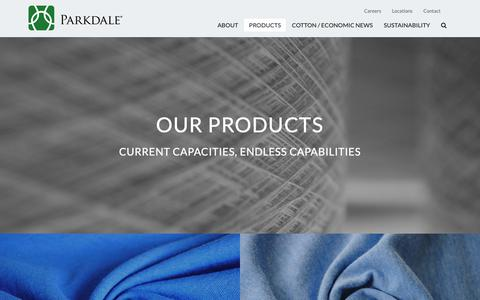 Screenshot of Products Page parkdalemills.com - Products Archive - Parkdale Mills - captured Sept. 26, 2018