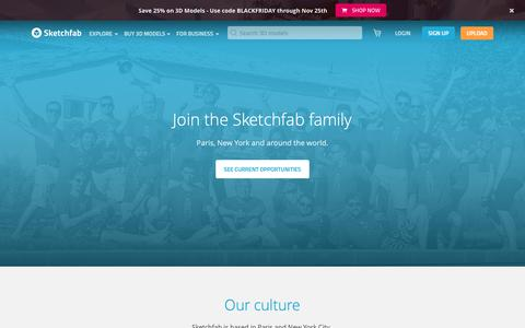Screenshot of Jobs Page sketchfab.com - Careers at Sketchfab - Join our Family - Sketchfab - captured Nov. 25, 2018