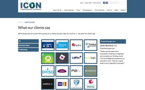 Screenshot of Testimonials Page iconcorpfin.co.uk - ICON | Testimonials Archive - captured Oct. 27, 2014