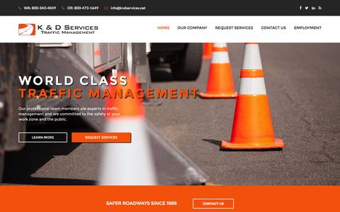 Screenshot of Home Page kndservices.net - K&D Services Inc | Flagger | Traffic Management | Traffic Control | Flagging | Traffic Safety | Traffic Control Plan | Washington | Oregon | Seattle | Everett | Portland - Traffic Management | Traffic Control and Management Flaggers from K&D Services - captured Aug. 6, 2015