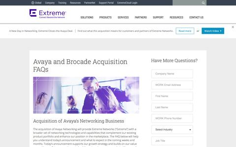 Screenshot of FAQ Page extremenetworks.com - Avaya and Brocade Acquisition FAQs - Extreme Networks - captured July 17, 2017