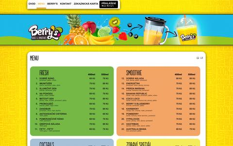 Screenshot of Menu Page berrys.cz - Menu - captured Oct. 5, 2014