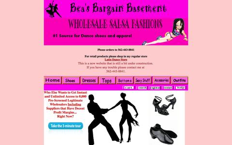 Screenshot of Home Page beasbargainbasement.com - Ballroom Dance Shoes, Salsa dresses, Party DRESSES, Sexy Halter Tops, latin dance outfits,Salsa Skirts   sexy Club Wear - captured June 20, 2015