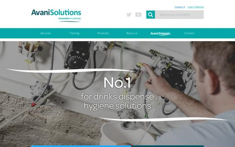 Screenshot of Menu Page avanisolutions.co.uk - Beer Quality Consultancy, Services & Products | Avani Solutions - captured July 28, 2018