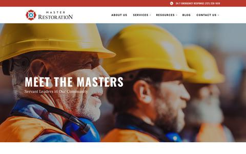 Screenshot of About Page masterrestorationservices.com - MEET THE MASTERS - Master Restoration About Us - captured Nov. 15, 2018