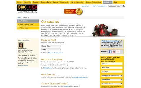 Screenshot of Contact Page maacindia.com - Looking for Animation & VFX Courses? Contact MAAC - captured Sept. 24, 2014