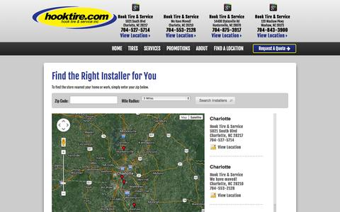 Screenshot of Maps & Directions Page hooktire.com - Tire Stores in North Carolina | Hook Tire & Service - captured Oct. 3, 2014