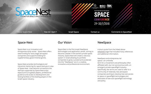 Screenshot of Home Page space-nest.com - NewSpace | Israel | Space-Nest home for israels' space entrepreneurs - captured Jan. 25, 2018