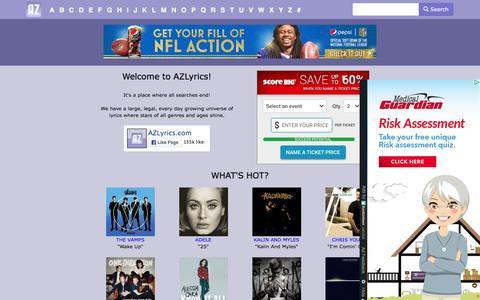 Screenshot of Home Page azlyrics.com captured Dec. 2, 2015