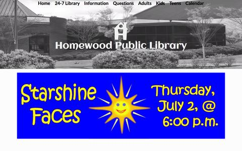 Screenshot of Home Page homewoodpubliclibrary.org - Home - Homewood Public Library - captured July 3, 2015