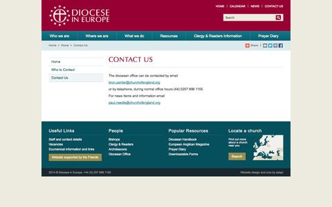 Screenshot of Contact Page anglican.org - Contact Us - Diocese in Europe - captured Sept. 23, 2014