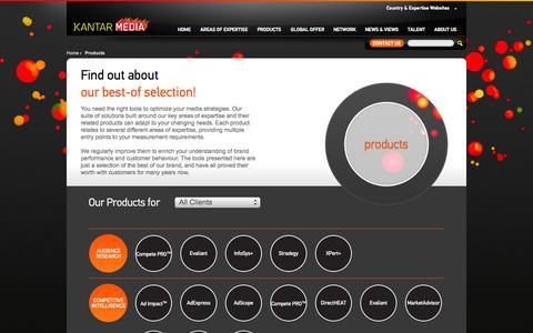 Screenshot of Products Page kantarmedia.com - Products | Kantar Media - captured Sept. 19, 2014