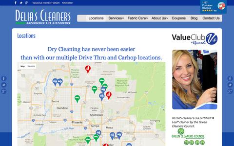 Screenshot of Locations Page deliascleaners.com - 18 Valley Dry Cleaning Locations in Phoenix Metro | DELIA'S Cleaners - captured Aug. 1, 2016