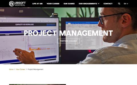 Screenshot of Jobs Page ubisoft.com - Project Management - Ubisoft Montréal - captured Nov. 8, 2019