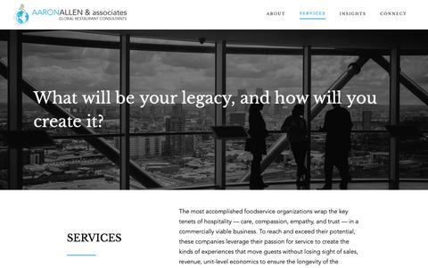 Screenshot of Services Page aaronallen.com - Services - Aaron Allen & Associates, Global Restaurant Consultants - captured Oct. 2, 2018