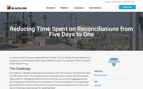 Screenshot of Case Studies Page blackline.com - Braden reduces time on reconciliations with BlackLine's Finance Controls and Automation platform - captured Nov. 29, 2019