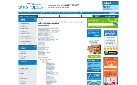 Screenshot of Site Map Page sinks-taps.com - Site Map - captured Sept. 19, 2014