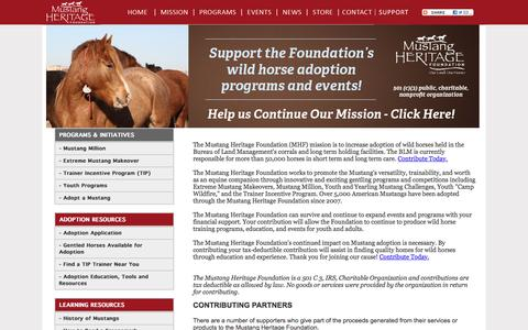 Screenshot of Support Page mustangheritagefoundation.org - Mustang Heritage Foundation - Support - captured Dec. 5, 2015
