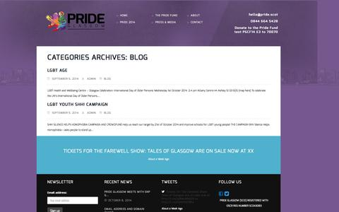 Screenshot of Blog pride.scot - Pride Glasgow |        Blog - captured Oct. 29, 2014