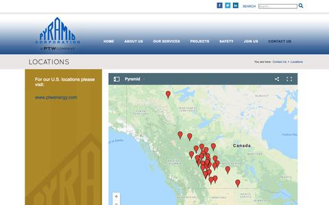 Screenshot of Locations Page pyramidcorporation.com - Locations - Pyramid Corporation - captured Nov. 5, 2018