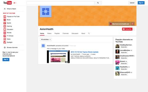 Screenshot of YouTube Page youtube.com - AxionHealth  - YouTube - captured Oct. 22, 2014