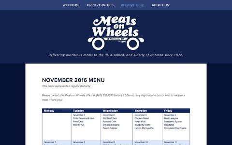 Screenshot of Menu Page mealsonwheelsnorman.com - Menu — Meals on Wheels Norman, OK - captured Nov. 28, 2016