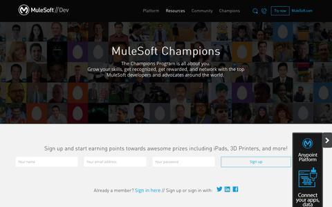 Screenshot of Developers Page mulesoft.com - Champions Program - captured April 10, 2017