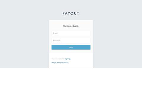 Screenshot of Login Page payout.com - Payout - captured June 27, 2016