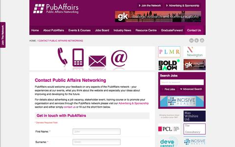 Screenshot of Contact Page publicaffairsnetworking.com - Contact Details - PubAffairs - The Public Affairs Network - captured Nov. 24, 2019