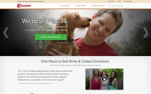Screenshot of Home Page Privacy Page Jobs Page booster.com - Booster - Free Crowdfunding Platform. Raise Money. Awareness. Spirits - captured Sept. 19, 2014