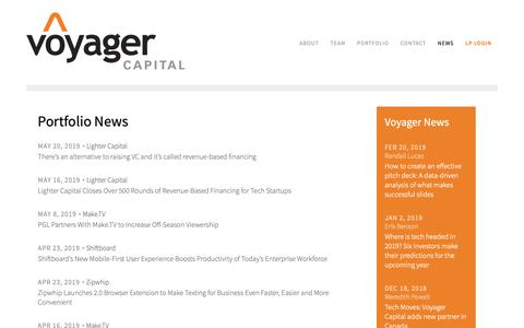 Screenshot of Press Page voyagercapital.com - Venture Capital News & Investments   Voyager Capital - captured May 29, 2019