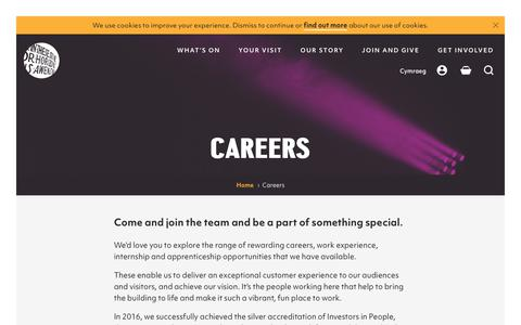 Screenshot of Jobs Page wmc.org.uk - Careers | Wales Millennium Centre - captured Oct. 20, 2018