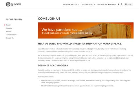 Screenshot of Jobs Page guidedproducts.com - Come Join Us                           | Guided - captured Oct. 3, 2014