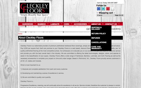 Screenshot of About Page addisonelwood.com - About Cleckley Floors | Hardwood Flooring | Bamboo Flooring | Laminate Flooring | Cork Flooring - captured Oct. 2, 2014