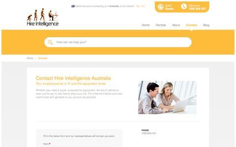 Screenshot of Contact Page hire-intelligence.com.au - Contact Hire Intelligence Australia - captured Jan. 30, 2016