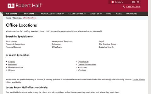 Screenshot of Contact Page Locations Page roberthalf.ca - Locations – Robert Half - captured Jan. 15, 2017