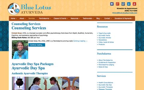 Screenshot of Services Page bluelotusayurveda.com - Services Archives - Blue Lotus Ayurveda - captured Nov. 22, 2016