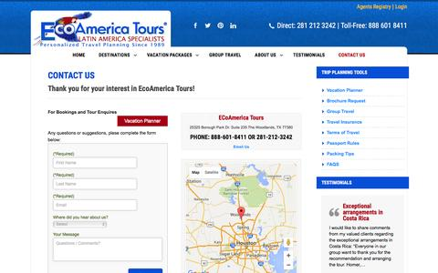 Screenshot of Contact Page ecoamericatours.com - Contact Us • EcoAmerica Tours - captured July 11, 2016