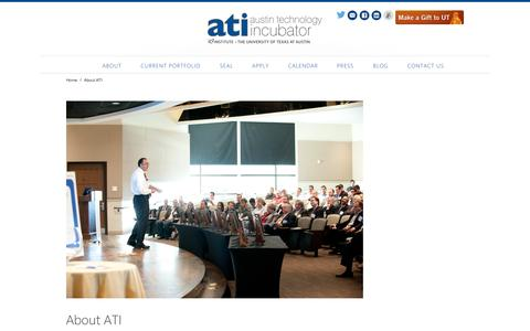 Screenshot of About Page utexas.edu - About AT | Austin Technology Incubator | UT Austin - captured Sept. 19, 2014