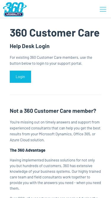Screenshot of Support Page  360visibility.com - Customer Support - 360 Visibility