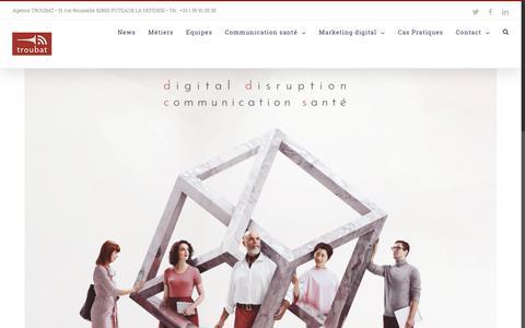 Screenshot of Home Page troubat.com - Agence de communication digitale et santé - TROUBAT - conseil en stratégie - Paris - captured Sept. 29, 2018
