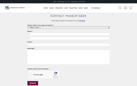 Screenshot of Contact Page makeupgeek.com - Contact Customer Service - Makeup Geek - captured April 4, 2018